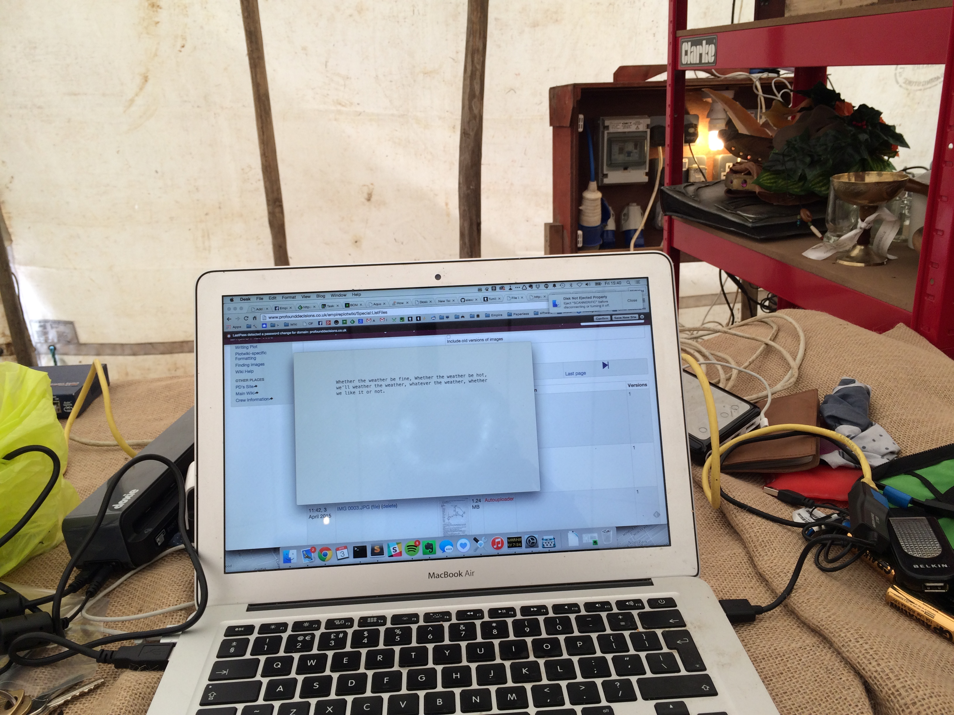 My laptop, in a tent