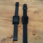 Left, my KS-backer original Pebble. Right, the new hotness.