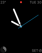 My standard simple watchface. The red dot means I have notifications waiting