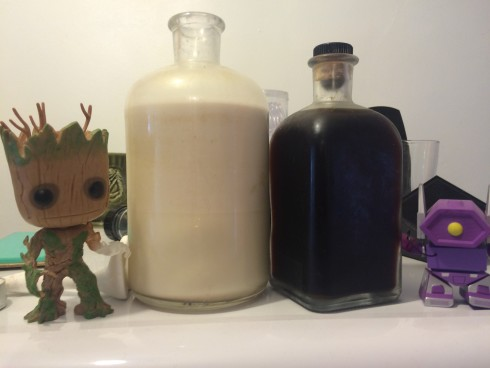 Almond milk & cold brew coffee. Groot for scale.