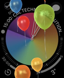 An Apple Watch face with balloons